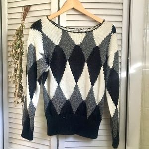 {VTG Liz Claiborne} Black & White Diamond Sweater